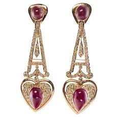 Diamond Ruby Heart Earrings 18K Rose Gold Dangle