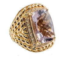 Diamond Amethyst Ring 14K Gold Cocktail