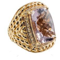 Diamond Amethyst Ring 14K Gold Cocktail