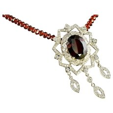 Doris Panos Garnet Diamond Necklace 18K Gold