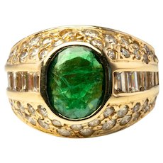 Natural Emerald Diamond Ring 14K Gold Genuine