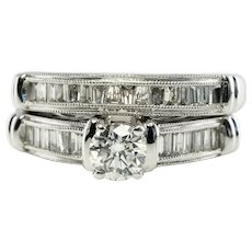 Diamond Engagement Ring Set 14K White Gold Bands
