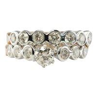Diamond Ring Stacking Bridal Set 14K Gold Bands 1.45 TDW