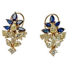 Diamond Sapphire Earrings Flower 14K Gold Vintage