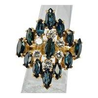 Diamond Sapphire Ring 14K Gold Band Vintage Cocktail