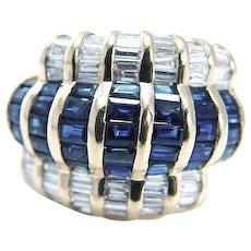LeVian Sapphire Diamond Cocktail Ring 18K Yellow Gold