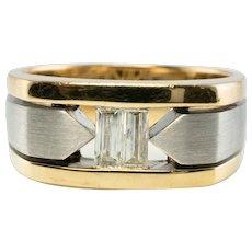 Mens Diamond Ring 14K Gold Band Vintage Geometric