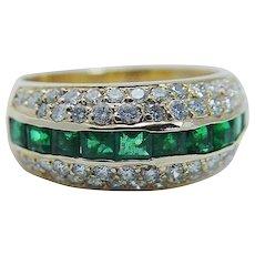 Vintage Birks Emerald Diamond Band Ring 18K Yellow Gold
