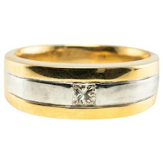 Mens Solitaire Diamond Ring Wedding Band 18K Gold