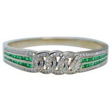 Estate 18K Yellow Gold Colombian Emeralds Diamonds Bracelet Bangle