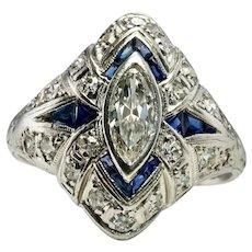 Diamond Sapphire Ring Platinum Antique c.1910s