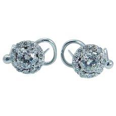 Vintage 14K White Gold 1.52cttw Diamond Earrings with .50ct center Diamonds