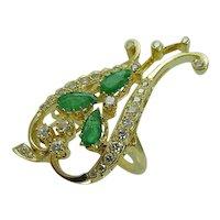 Diamond Emerald Ring 14K Gold Floral Cocktail Vintage