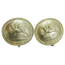 Greek Designer Kanaris Cameo Pegasus Perseus 18K Yellow Gold Earrings Clips Vintage