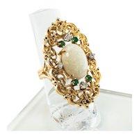 Emerald Diamond Opal Ring 14K Gold Cocktail Vintage