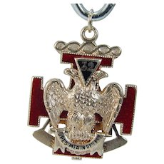 Masonic Gold FOB Pendant Enamel 14K Yellow 32