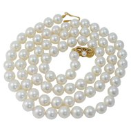 """Vintage Mikimoto 18K Yellow Gold Clasp 8-8.5mm AA Akoya  Cultured Pearls 29"""" Necklace BOX"""