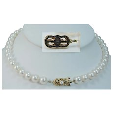 "Vintage Mikimoto 18K Yellow Gold Clasp 8-8.5mm AA Cultured Akoya Pearls 15.75"" Necklace"