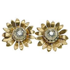 Diamond SunflowerEarrings 14K Gold Vintage Estate