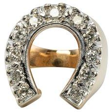 Diamond Ring Horseshoe 14K Gold Vintage Estate .70 TDW