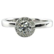 Diamond Halo Ring 18K White Gold Engagement Vintage Estate