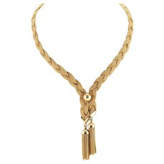 Tiffany and Co 14K Gold Braided Rope Necklace