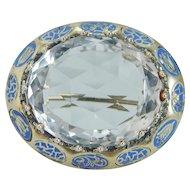 Antique 14K Gold 42.74cts Rock Crystal Enamel Brooch Ring Pendant possibilities