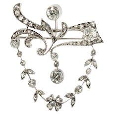 Antique Diamond Brooch Flower Pendant 14K Gold 2.47 TDW