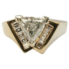Diamond V Ring 14K Gold Center Trillion cut 1.25 ct Engagement