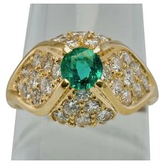 Diamond Colombian Emerald Ring 14K Gold Vintage Estate