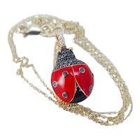 Diamond Ladybug Pendant Charm Enamel 18K Gold