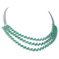 "Estate 14K White Gold 24.30cts Emerald 2.52ct Diamonds 3 rows 16.5"" Necklace Choker"