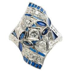Diamond Sapphire Ring Blue Enamel 14K White Gold