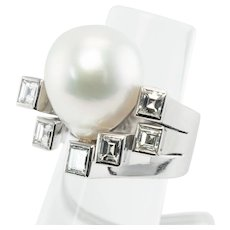 South Sea Pearl Square Genuine Diamonds Ring 18K Gold Hallmarked DB