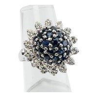 Diamond Sapphire Ring 14K White Gold Flower Cocktail