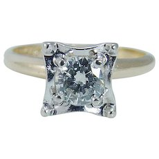 Vintage 14K Yellow White Gold LoveLand .75ct Diamond Solitaire Engagement Ring
