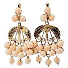 Diamond Pink Sea Coral Chandelier Earrings 14K Gold