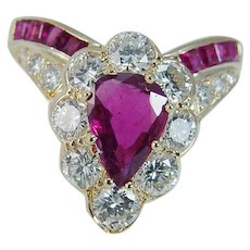Estate 14K Yellow Gold 2.41ct Rubies Ruby 1.32ct Diamonds V Ring