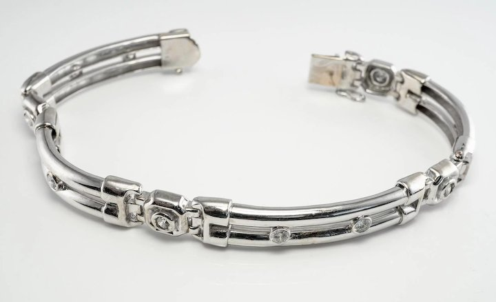 Diamond Men Bracelet 1 80cttw 47 9 Gr 14k White Gold 8 5 Long