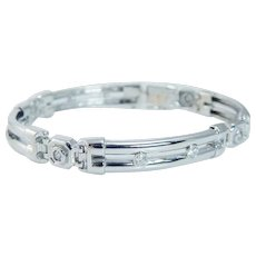 "Estate 14K White Gold 1.80ct Diamonds Men Bracelet 47.9 gr for Man 8.5"" Long"