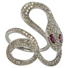 Estate 18K White Gold Ruby Diamonds Snake Large Ring made in Italy