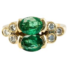Natural Emerald Ring Genuine Diamonds 18K Gold