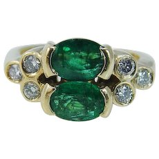 Vintage 18K Yellow Gold Emeralds Emerald Diamond Diamonds Band Ring