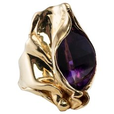 Amethyst Ring Free Form Signed 14K Yellow Gold