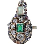 Antique Georgian 14K Gold Colombian Emerald Miner Diamonds Opal Ring c.1820s