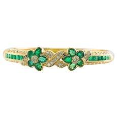 Diamond Emerald Bracelet 18K Gold Flower Bangle