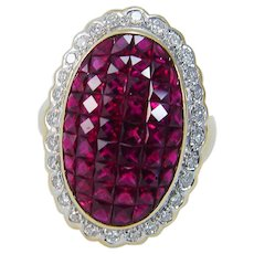 Ruby Diamond Ring Pigeon Blood French cut 18K Yellow Gold Natural Genuine