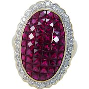 Vintage 18K Yellow Gold Pigeon Blood French cut Rubies Ruby Diamonds Ring