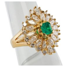 Colombian Emerald Diamond Ballerina Ring 18K Yellow Gold