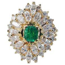 Estate 18K Yellow Gold Colombian Emerald Diamonds Ballerina Cocktail Ring